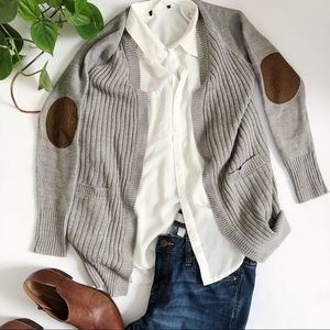 Gray Sweater With Brown Suede Elbows